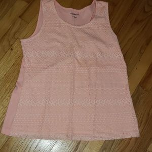 Croft & Barrow Tank Top with Lace Front Overlay